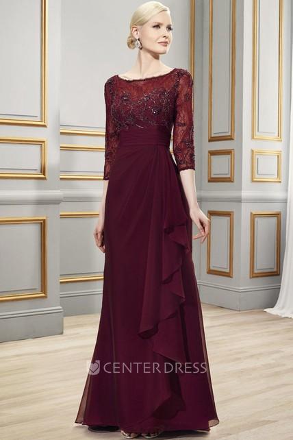 38d43742c7a Bateau Neck 3-4 Sleeve Appliqued Chiffon Formal Dress - UCenter Dress