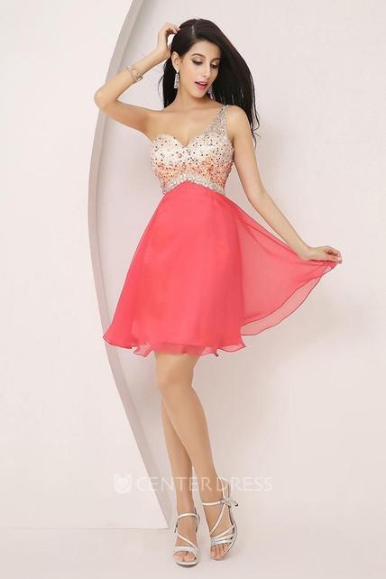 7f23c365f37 A-line Short Mini Sleeveless One-shoulder Beading Pleats Chiffon Homecoming  Dress - UCenter Dress