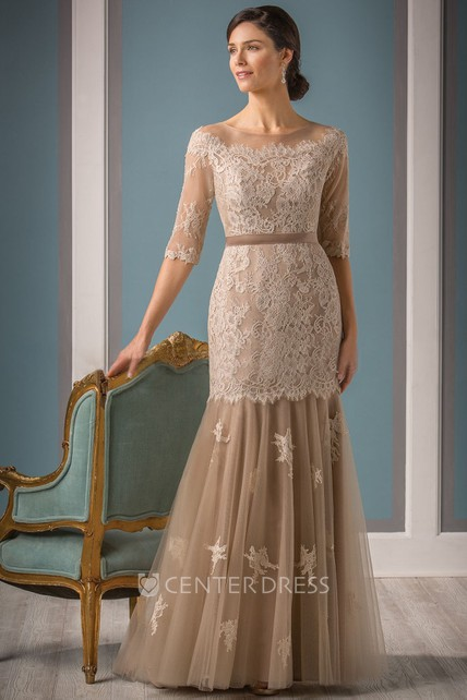 Half-Sleeved Mermaid Mother Of The Bride Dress With Appliques And Dropped Waist