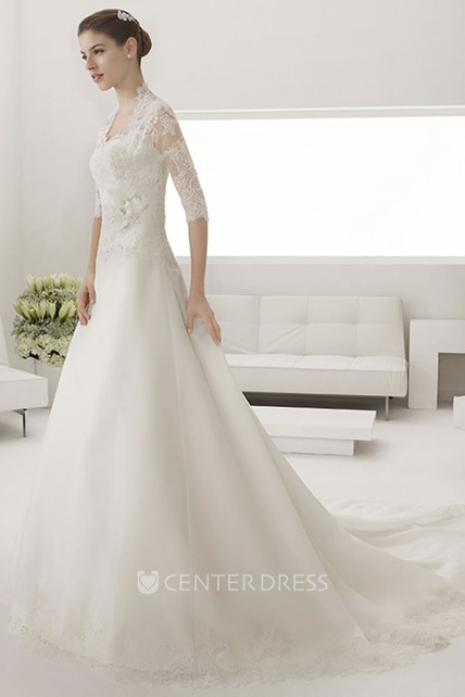Sweetheart A-line Tulle Wedding Gown With Lace Top And Removable Jacket