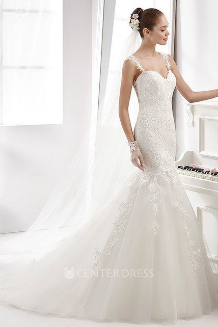 33f08a356c25 Sweetheart Sheath Mermaid Wedding Dress With Lace Appliques Straps And  Illusive Details - UCenter Dress