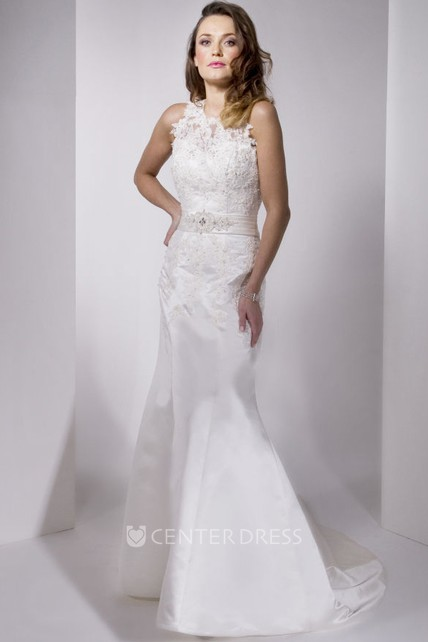 af8798f7310 Mermaid Sleeveless One-Shoulder Appliqued Floor-Length Satin Wedding Dress  With Illusion Back And Waist Jewellery - UCenter Dress