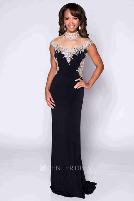 31d6d51fefd1e High Neck Cap Sleeve Keyhole Back Jersey Prom Dress With Shining Top -  UCenter Dress