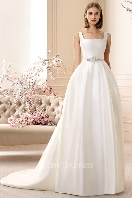 A-Line Sleeveless Square-Neck Jeweled Long Satin Wedding Dress ...