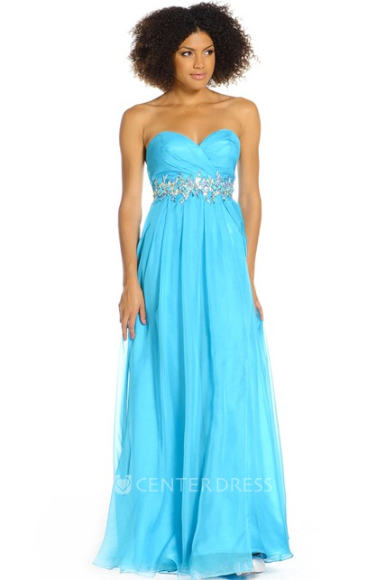 bb2c2609ea8 A-Line Sweetheart Ruched Sleeveless Floor-Length Prom Dress With Waist  Jewellery - UCenter Dress