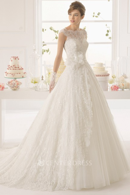 307a1c9eac75 A-Line Cap-Sleeve Long Bateau-Neck Appliqued Lace Wedding Dress With Flower  And Pleats - UCenter Dress