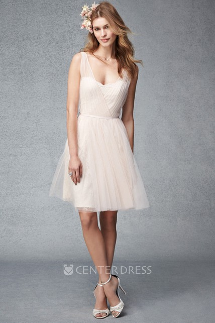 Short A-Line Ruched Sleeveless V-Neck Tulle Bridesmaid Dress