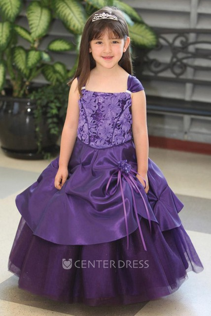 Ankle-Length Beaded Tiered Tulle&Lace Flower Girl Dress With Sash