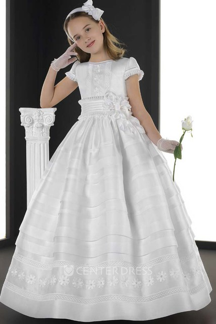 56224026f A-Line Maxi Jewel-Neck Short-Sleeve Floral Organza Flower Girl Dress With  Tiers - UCenter Dress