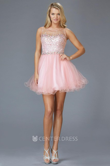 2776068d719 A-Line Mini Scoop-Neck Sleeveless Tulle Keyhole Dress With Beading And  Ruffles - UCenter Dress