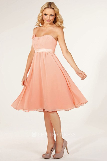 e375c2e2b72 Knee-Length Strapless Floral Chiffon Bridesmaid Dress With Ruching And  Lace-Up - UCenter Dress