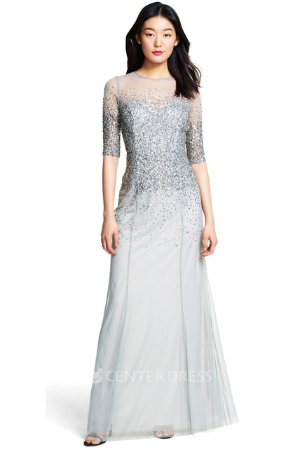 a4567f8de1c8 Sheath Sequined Half Sleeve Jewel Neck Tulle Bridesmaid Dress - UCenter  Dress
