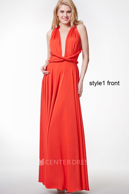 Convertible Sleeveless Halter Neck Pleated A-line Jersey Gown