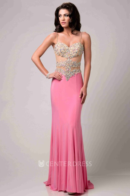 8c062a9588ad2 Rhinestone Bodice Sheath Long Prom Dress With Spaghetti Straps - UCenter  Dress
