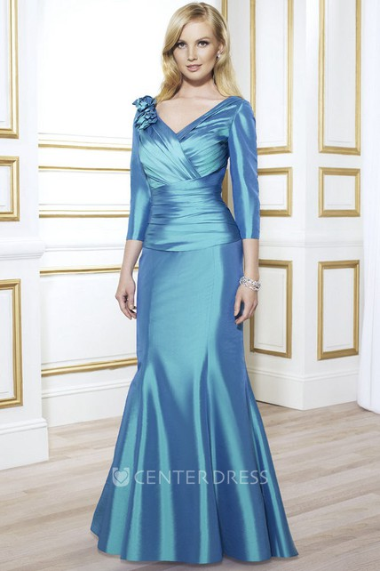9711dd11da V-Neck Long Sleeve Floral Satin Mother Of The Bride Dress With Ruching -  UCenter Dress