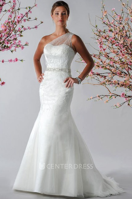9aca210687bb Illusion Tulle Single Strap Mermaid Bridal Gown With Crystal Waist -  UCenter Dress