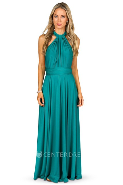 9dfe94996a9 Maxi Halter Ruched Jersey Convertible Bridesmaid Dress With Straps - UCenter  Dress