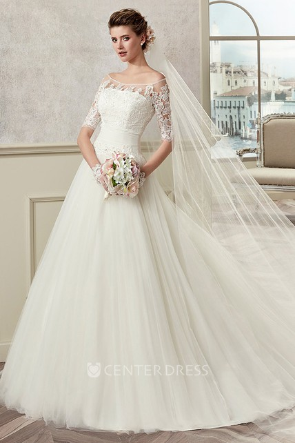f39326660774 Half-Sleeve A-Line Bridal Gown With Off Shoulder And Pleated Skirt - UCenter  Dress