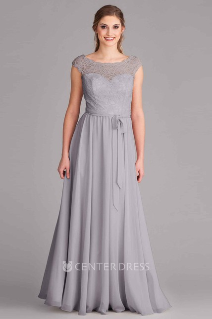 5e5b17c74a65 Scoop Neck Lace Sleeveless Chiffon Bridesmaid Dress With Bow And Low-V Back  - UCenter Dress