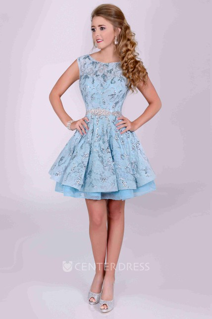 Bateau Neck Cap Sleeve A-Line Sequined Lace Prom Dress With Back Bow