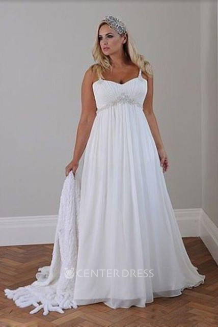A Line Spaghetti Chiffon Lace-up Corset Back Wedding Gown