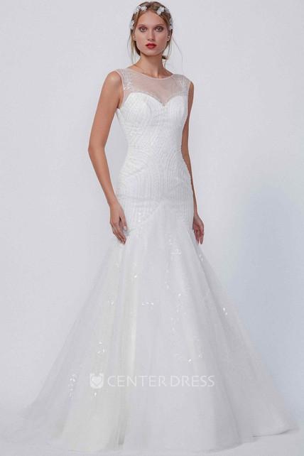 A-Line Maxi Beaded Cap-Sleeve Scoop-Neck Tulle Wedding Dress ...