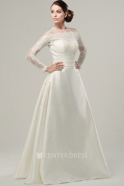8cb4fc7436d4 A-Line High Neck Long-Sleeve Satin Wedding Dress With Illusion - UCenter  Dress