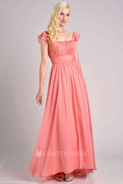 d421a92470f A-Line Chiffon Pleated Bridesmaid Dress With Square Neckline And Ruffles -  UCenter Dress