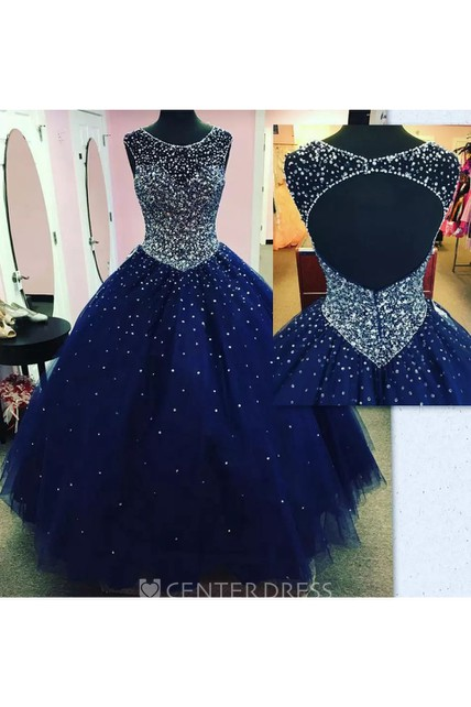 Sleeveless Ball Gown Bateau Floor-length Tulle Prom Dress with Beading and Ruching