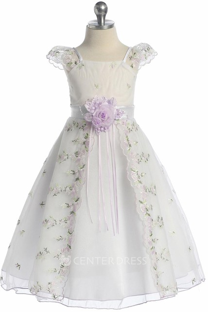 a07039cbdc Split Tea-Length Bowed Floral Organza Flower Girl Dress With Embroidery - UCenter  Dress