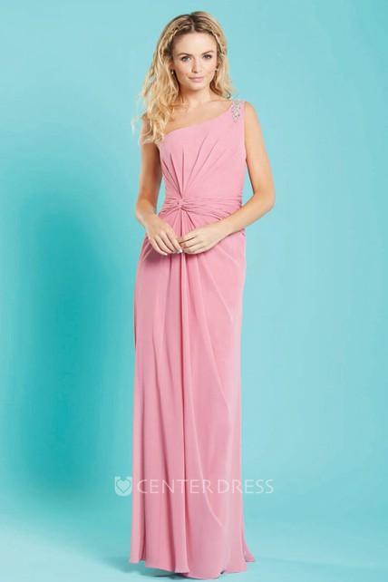 07963ba4d3a6 Maxi One-Shoulder Beaded Sleeveless Chiffon Bridesmaid Dress With Ruching - UCenter  Dress