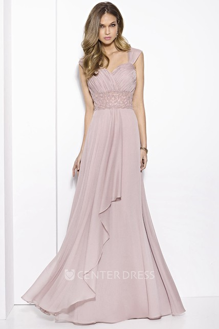 c19aa5bda3c79 A-Line Ruched Floor-Length Queen-Anne Chiffon Prom Dress With Draping And Waist  Jewellery - UCenter Dress