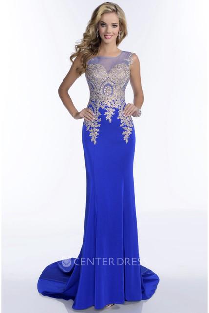 c28863552df Bateau Neck Sleeveless Sheath Jersey Prom Dress With Illusion Back And  Rhinestone Bodice - UCenter Dress