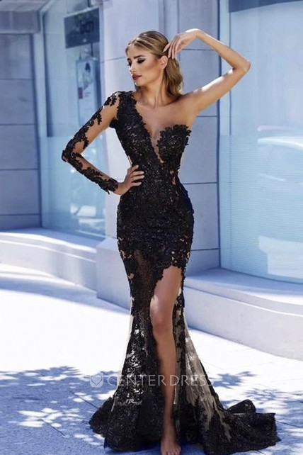 Sexy Lace Appliqued One Shoulder Front Split Mermaid Dress