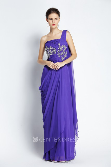 Floor-length Sleeveless A-Line One-shoulder Chiffon Prom Dress with Beading and Draping