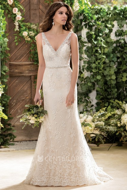 4d83700775f52 Sleeveless V-Neck Long Wedding Dress With Appliques And Deep V-Back -  UCenter Dress