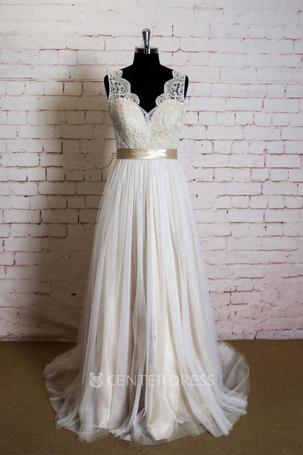 c6bb55f52fe6b V-Neck Sleeveless Lace Top Wedding Dress With Champagne Lining - UCenter  Dress