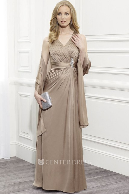 V-Neck Ruched Sleeveless Satin Mother Of The Bride Dress With Cape