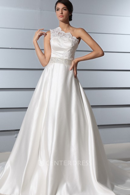 A-Line One-Shoulder Satin Wedding Dress With Lace Bodice And Chapel Train