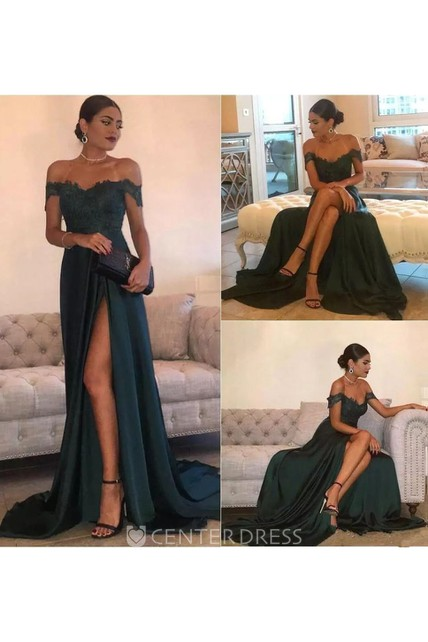 Sleeveless A-line Off-the-shoulder Floor-length Court Train Jersey Lace Evening Dress with Split Front