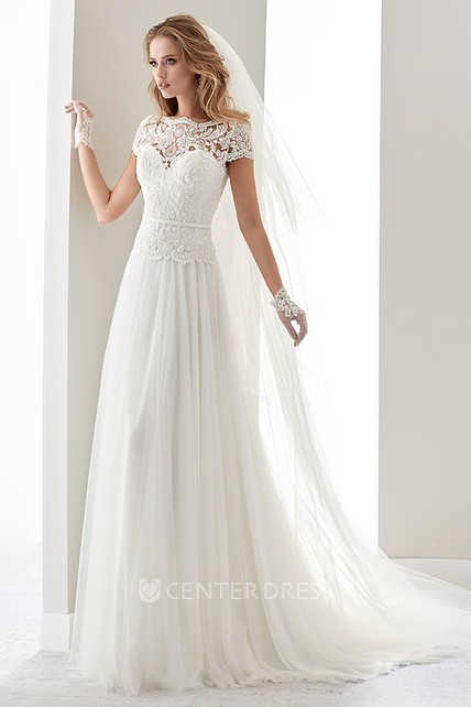 Scalloped Neck Illusion D Wedding Dress With Lace Bodice And T Shirt Sleeves