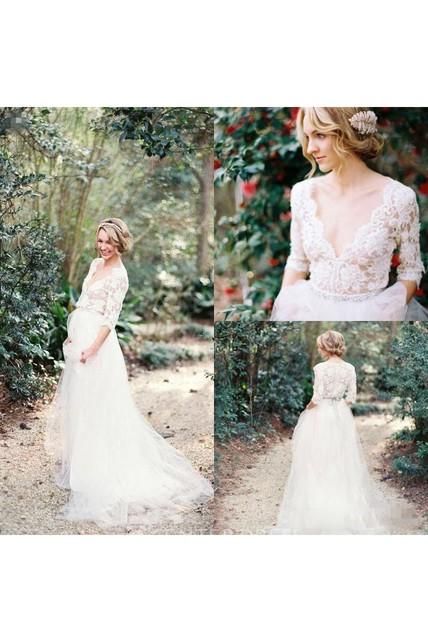 4c9e3f5ddf7a7 A Line V-neck Lace Tulle Button Zipper Wedding Gown - UCenter Dress