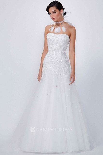 93005cdf77a Mermaid Strapless Sleeveless Beaded Maxi Tulle Wedding Dress With Flower -  UCenter Dress