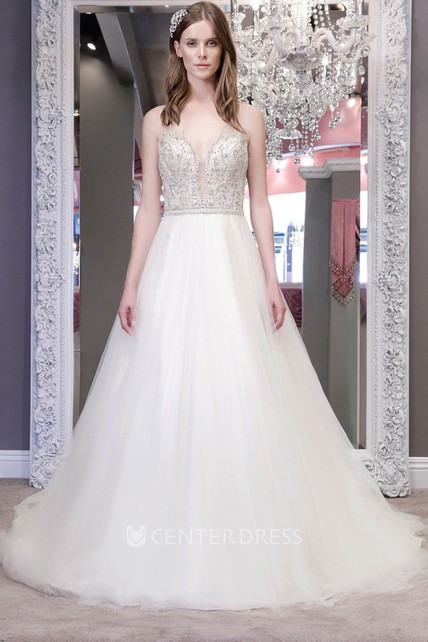 abefd11e70e A-Line Sleeveless Jewel-Neck Tulle Wedding Dress With Crystal Detailing And  Illusion - UCenter Dress