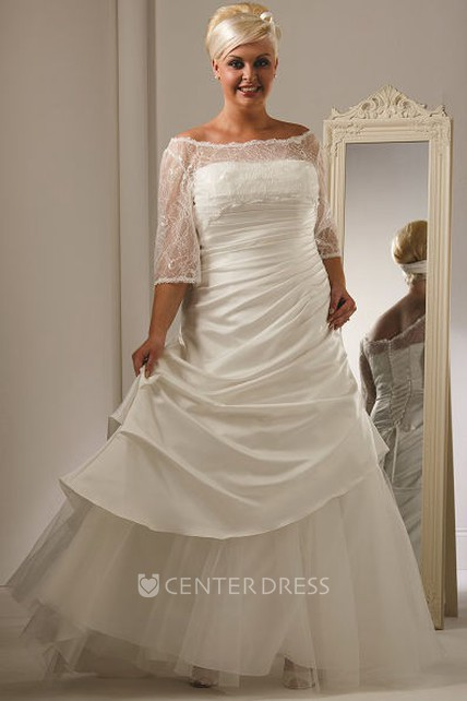 Off Shoulder Lace Half Sleeve Taffeta Bridal Gown With Tulle Skirt