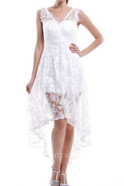 3ca391594eb Short White V-neck Lace Dress With Low-V Back - UCenter Dress