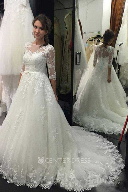 A Line Bateau Lace Tulle Button Zipper Wedding Dress