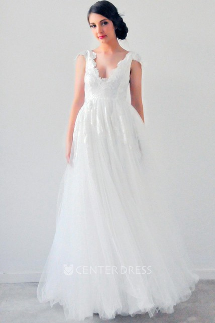 A Line Scalloped Appliqued Empire Cap Sleeve Tulle Wedding Dress