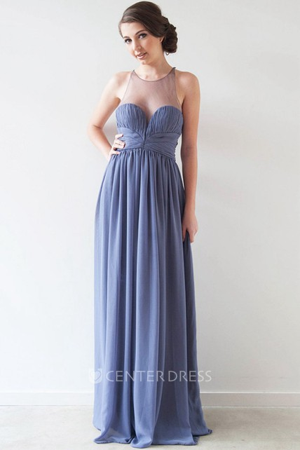 c1ff746d172 A-Line Maxi Scoop Ruched Sleeveless Chiffon Bridesmaid Dress With Illusion  Back And Pleats - UCenter Dress