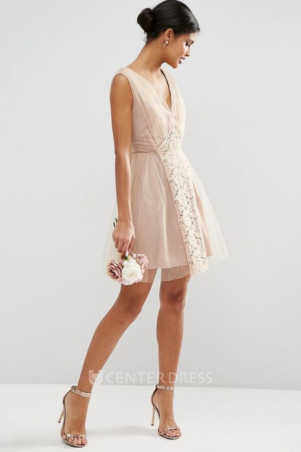 eee97f15b733c Mini A-Line V-Neck Sleeveless Lace Tulle Bridesmaid Dress With Ruching - UCenter  Dress